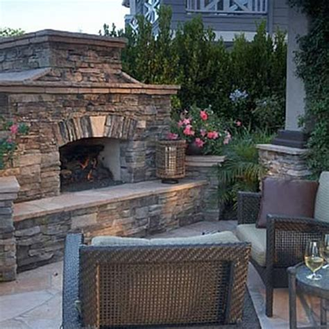 outdoor fireplace stacked fireplace