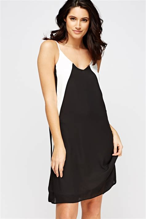 Colour Block Dresses by Colour Block Swing Dress Black White Just 163 5