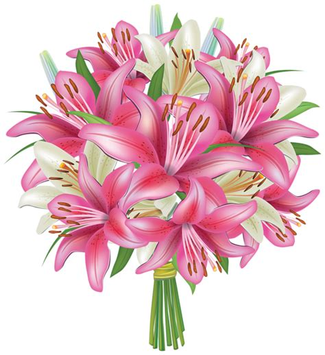 fiori clipart white and pink lilies flowers bouquet png clipart image