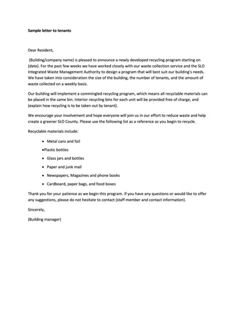 sample letter  tenant template printable