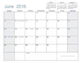 Calendar Template With Holidays June 2016 Calendar With Holidays Printable 7 Templates