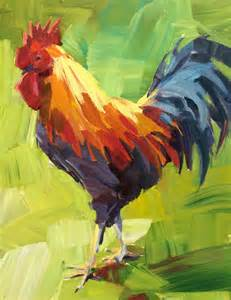 rooster painting by patti mollica follow along to her