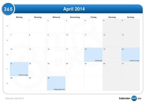 Calendar April 2014 Kalender April 2014