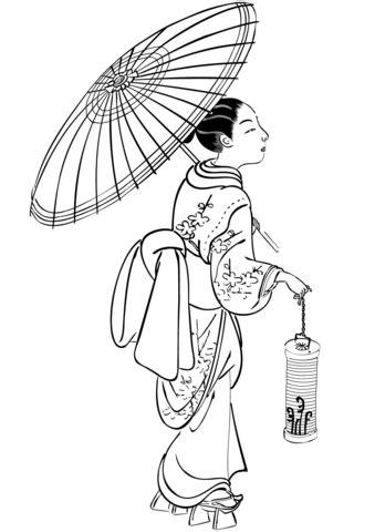 Dibujo de Mujer japonesa con paraguas y linterna para