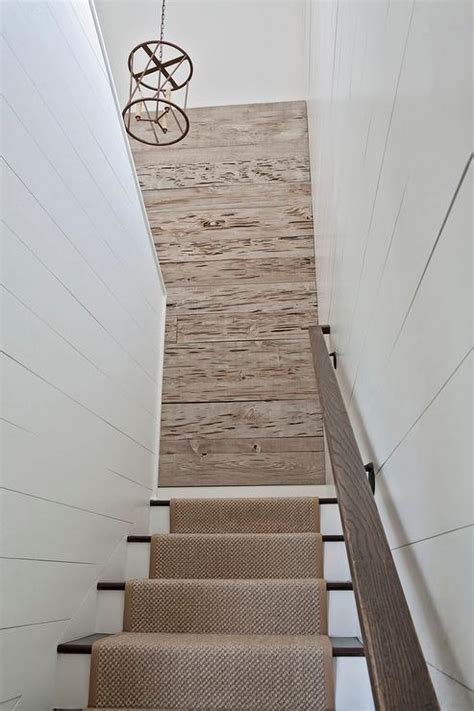 Accent Wall Staircase by Shiplap Staircase Walls With Beige Bound Sisal Runner