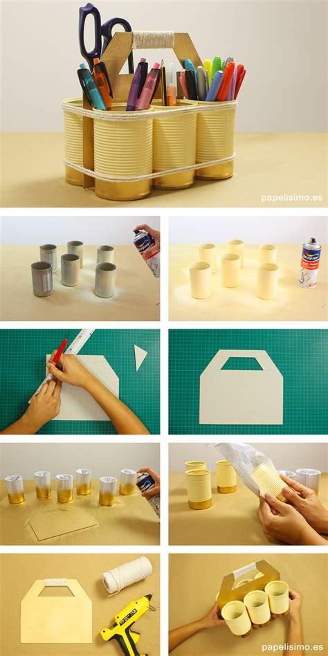 decorar escritorio manualidades organizador reciclado con latas y cart 243 n papelisimo