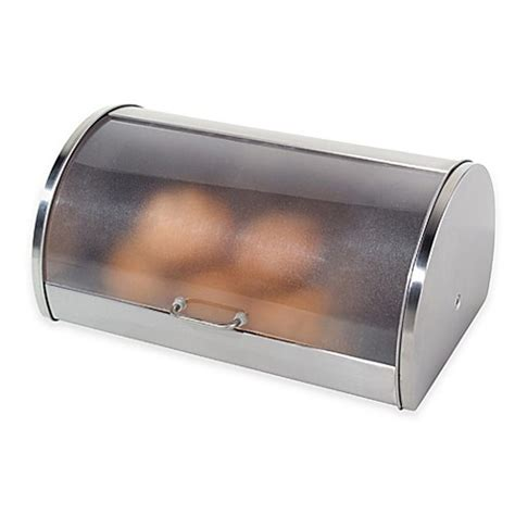 bed bath and beyond bread box oggi stainless steel roll top bread box with frosted lid