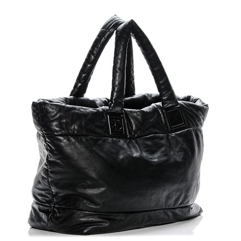 Chanel Large Lambskin Tote by Chanel Lambskin Coco Cocoon Large Reversible Tote Black 194681
