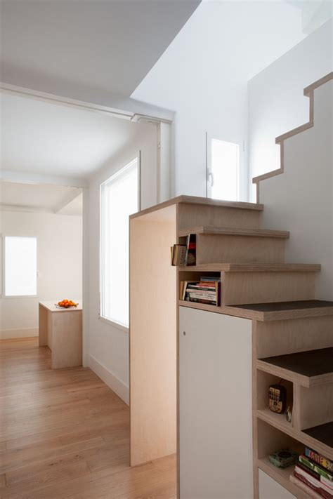 Guest Bedroom Sets - space saving stair storage design in plywood