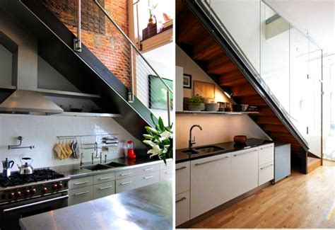 Inter Stairs And Kitchen Design 19 Space Saving Stairs Kitchens You Need To See Within Kitchen Design Stairs