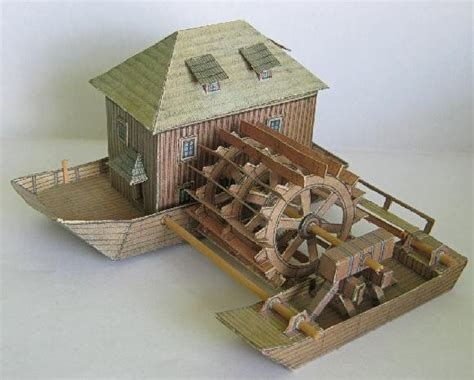 shipboard water mill free paper model
