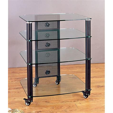 vti rack vti 4 shelf mobile audio rack black with clear glass ngr404bw