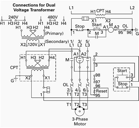 wiring of control power transformer for motor control circuits eep