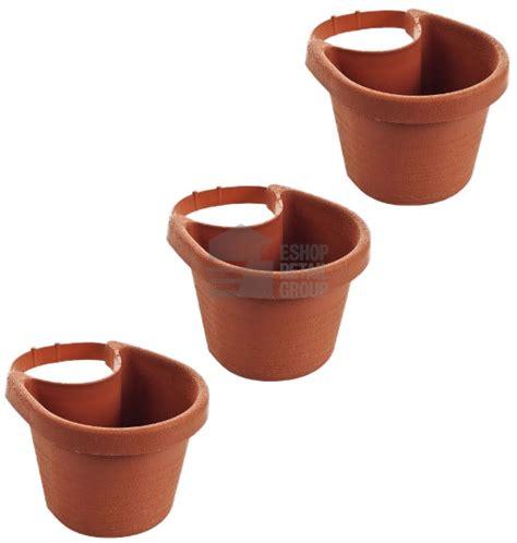 3x terracotta effect drainpipe flower plant pots drain