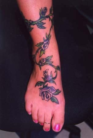 rose vine tattoos on leg vine tattoos blue design leg foot