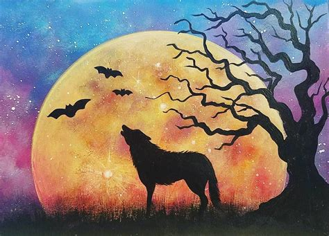watercolor wolf tutorial halloween night sky moon rising with wolf and tree