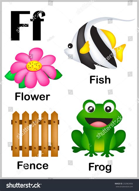 5 Letter Words Beginning With F and colorful alphabet letter f with set of
