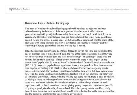 age discrimination discursive essay Discursive essay - school leaving age the issue of whether the school leaving age should be raised to eighteen has been debated recently in the media.