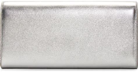 Silver Leather by Monogram Metallic Tassel Clutch Bag Silver