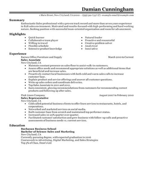 Closing Sle Resume by Sales Resume Exles Sales Sle Resumes Livecareer