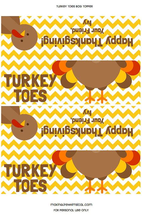 Printable Turkey Toes | personalized turkey toes printable bag topper