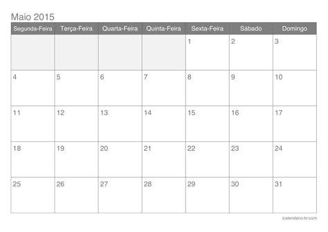 Calendario Maio 2015 Calend 225 Maio 2015 Para Imprimir Icalend 225 Br