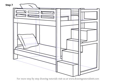 how to draw a bedroom step by step step by step how to draw a bunk bed drawingtutorials101 com