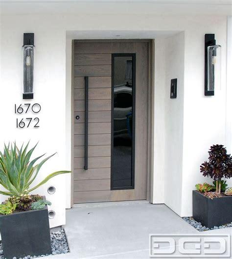 modern entry door  solid white oak  modern pull