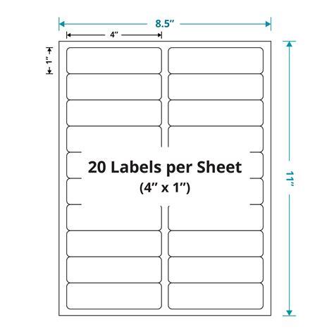 free labels template 16 per sheet laser sheet labels 4 quot x 1 quot 20 labels per sheet white