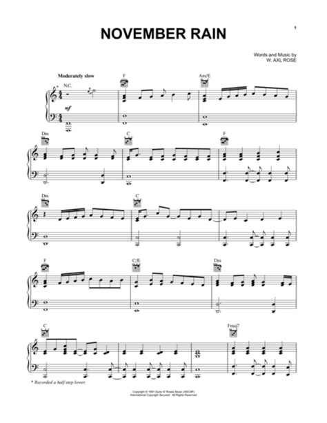 free mp3 download of november rain by guns n roses download november rain sheet music by guns n roses