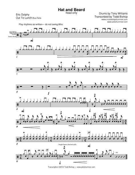 swing drum solo cruise ship drummer transcription tony williams hat