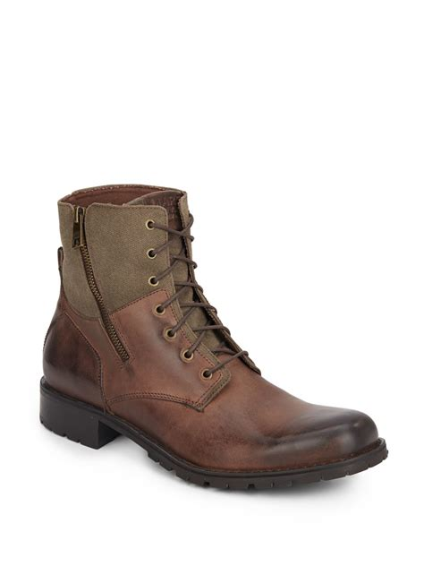 marc new york vesey leather canvas boots in brown for