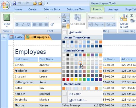 how to format reports with the layout view in ms access alternate row colours in microsoft access 2007 report
