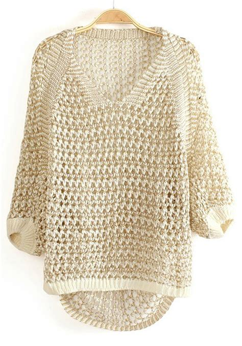 gold knit sweater white spun gold hollow out v neck knit sweater sweaters