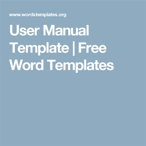manual template user manual template free word templates files