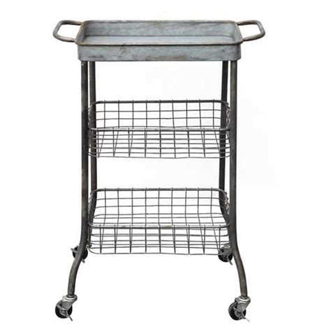 Wire Shelf Cart by Rolling Tin Cart W Wire Shelves Da5057