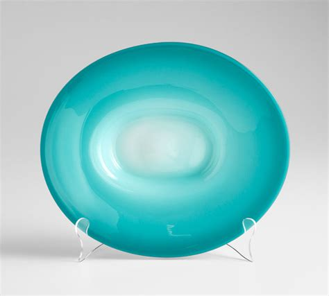 Decorative Glass Plates by Large Blue Glass Plate By Cyan Design