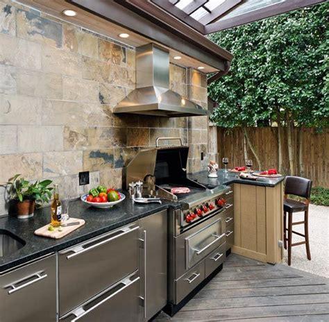 outdoor kitchen backsplash ideas outdoor kitchen with wolf grill and slate backsplash casa