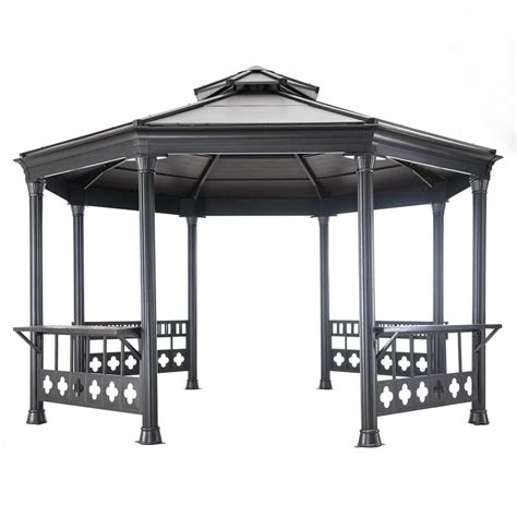 octagon gazebo shop sunjoy black steel octagon permanent gazebo exterior