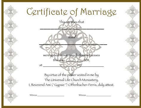 wedding certificates templates the unique wedding officiate