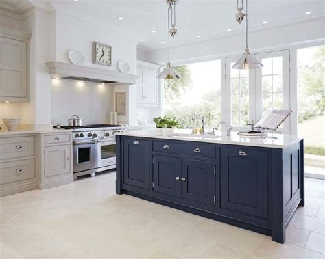 painted islands for kitchens blue painted kitchen tom howley
