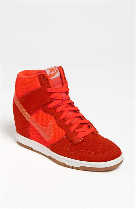 wedge nike sneakers nike dunk sky hi wedge sneakers in orange lyst