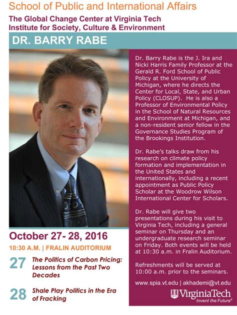 guest speaker dr barry rabe  give