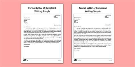 Complaint Letter Year 6 Formal Letter Of Complaint Writing Sle