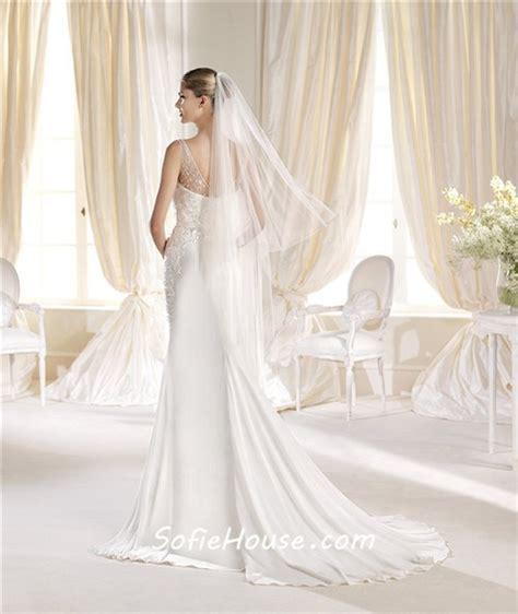 sheer beaded back wedding dress mermaid v neck and back chiffon beaded wedding dress with