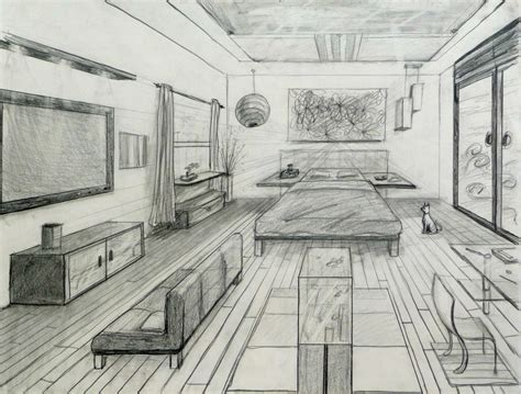perspective drawing of bedroom one point perspective fancy bed room 20 one point
