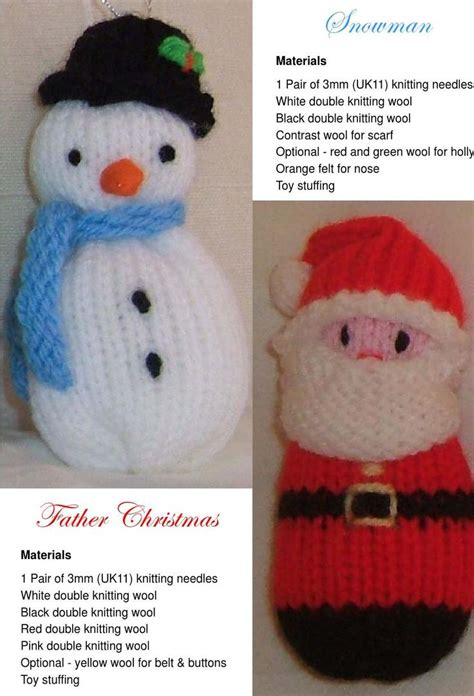 knitting pattern xmas free christmas knitting patterns santa angel snowman