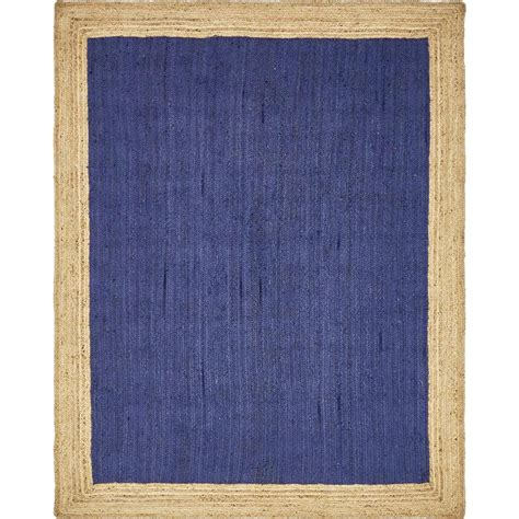 8 Foot Jute Rug by Unique Loom Braided Jute Navy Blue 8 Ft X 10 Ft Area Rug 3138929 The Home Depot