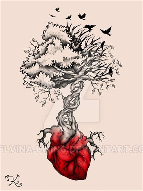 heart tree tattoo tree birds dna by elvina ewing on deviantart