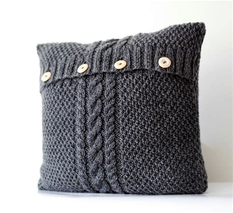 grey cable knit cushion knitted gray pillow cover cable knit decorative
